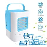 MOSTOP Air Conditioner Mini Portable Air Conditioner Energy Efficient Mini Air Conditioning Fan Desktop Cooling Fan Office Home Outdoor Travel (Blue)