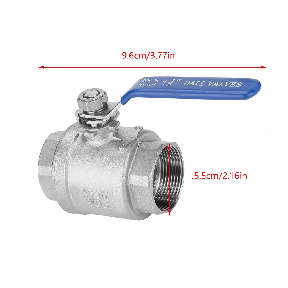 Full Port Ball Valve Oil Ball Valve 304 Stainless Steel Two-piece Female Thread Ball Valve for Flow Control Suitable for Water 1-1//2 DN40 1000 WOG Gas