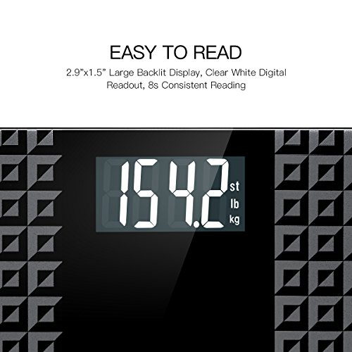 Digital Scale - Large Display with 8 Consistent Reading, Matte Platform, 400 Pounds,