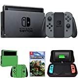 Nintendo Switch 32 GB Console w Gray Joy Con HACSKAAAA + Minecraft Bundle Includes Switch Minecraft Charging Case w Built-in Stand 10000mAh Battery Switch Lime Skin