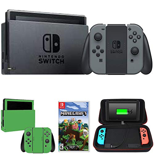 Nintendo Switch 32 GB Console w/Gray Joy Con (HACSKAAAA) + Minecraft Bundle Includes, Switch Minecraft, Charging Case w/Built-in Stand (10000mAh Battery) Switch Lime Skin]()