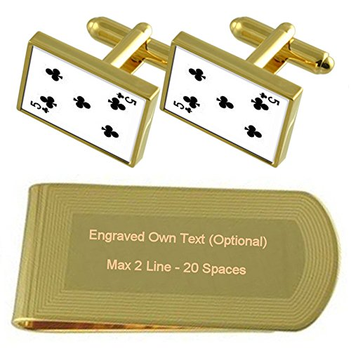 Engraved Gift number Money Playing Set Club Card Clip tone 5 Gold Cufflinks fzwCq