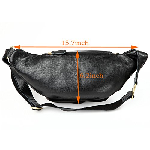 Polare Men's Natural Leather Fanny Pack Waist Bag Black Large by Polare (Image #3)