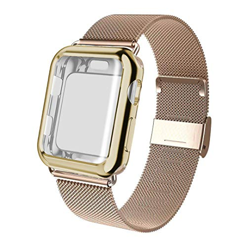 ADWLOF Compatible for Apple Watch Band 40mm Screen Protector Case, Sports Wristband Strap Replacement Band with Protective Case Compatible for iWatch Series 4,Light Gold