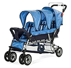 This multi-passenger stroller features a canopy for sun protection, easy to clean fabric, and extra-large storage baskets. All seats have an adjustable 5-point harness and recline to accommodate infants. Rubber, shock absorbing foam wheels pr...