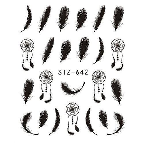 1Pcs Nail Art Sticker Water Transfer Decal Dreamcatcher Feather Design For Nail Watermark Polish Tattoos Sliders STZ642
