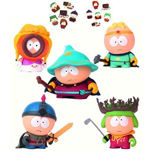 South Park Figures -5 Pcs Playset Collectible Toys Eric Cartman, Stan Marsh, Kyle Broflovski,Grand Wizard,Warrior More Characters 6-8 cm Tall + Bonus Assorted Stickers Card ()