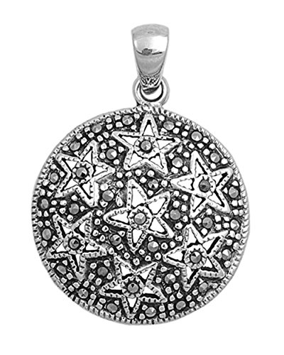 - Star Pendant Simulated Marcasite .925 Sterling Silver Cutout Charm - Silver Jewelry Accessories Key Chain Bracelet Necklace Pendants