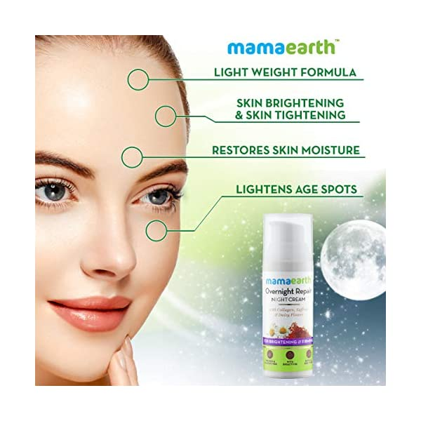 Mamaearth Skin Repair Night Cream for Glowing Skin & Anti Ageing, with Collagen, Saffron & Daisy Flower 2021 June SKIN BRIGHTENING - The Skin Repair Night Cream with ingredients such as Saffron & Daisy Flower extracts help in lightening & brightening the skin complexion naturally. SKIN TIGHTENING - Mamaearth's Skin Repair Night Cream with goodness of Collagen helps the skin elasticity & helps to attain a firm skin & thus has anti wrinkle effect. RESTORING SKIN MOISTURE - Loaded with naturally moisturizing agents such as Shea Butter, Almond Oil, Olive Oil, the Skin Repair Night Cream naturally helps in maintaining the moisture balance of the skin with regular use.