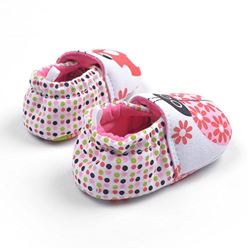 Goldore Baby Calientes muchachas de los muchachos zapatos infantiles del algodón suave Sole Resbalón-en talón elástico primeros caminante Zapatos 0-18M mariquita