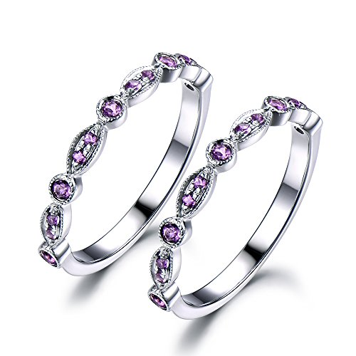 Purple Amethyst Wedding Ring Set 925 Sterling Silver White Gold Half Eternity Stacking Ring Art Deco Sets by Milejewel Wedding Band