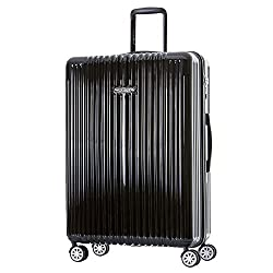 "Germany NaSaDen 29"" Large Luggage Grube Black-Hardside Travel Checked Luggage-Super Lightweight, 360° Spinner Wheels, TSA Luggage Lock-Schloss Sanssouci Zipper Luggage for Women/Men/Business/Travel"