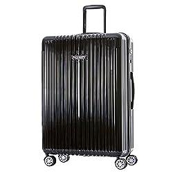 "Germany NaSaDen 29"" Large Luggage Grube Black-Hardside Travel Checked Luggage-Super Lightweight, 360° Spinner Wheels, TSA Luggage Lock-Schloss Sanssouci Zipper Luggage for Women/Men/Business/Travel"