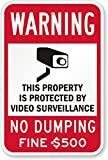 SmartSign 3M Engineer Grade Reflective Sign, Legend''Warning: Video Surveillance No Dumping Fine 500'' with Graphic, 18'' high x 12'' wide, Black/Red on White