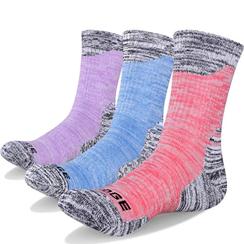 YUEDGE 3 Pairs Women's Cotton Cushion Crew Outdoor Sports Hiking Socks
