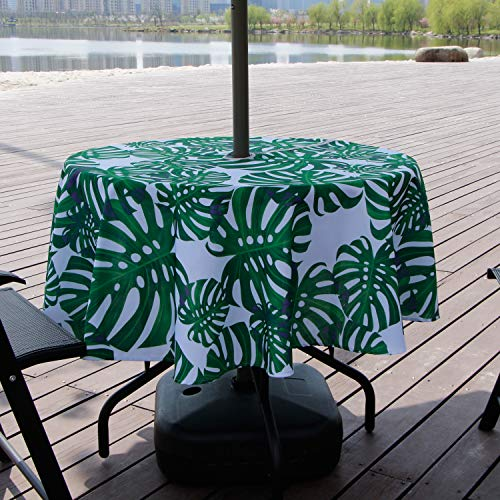 Lamberia Patio Outdoor Umbrella Tablecloth with Zipper and Umbrella Hole, Water and Stain Resistant (Bamboo, 60