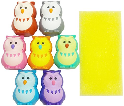 Iwako 7 Colour Lucky Owl Japanese Puzzle Erasers Card Set