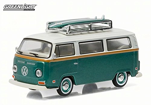 2 Bus with Surf Board, Green w/White top - Greenlight 29855/48 - 1/64 Scale Diecast Model Toy Car (Volkswagen Model)