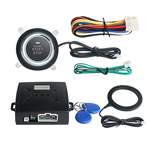 Remote Car Ignition (EASYGUARD EC004 Smart Rfid Car Alarm system Push Engine Start stop button & Keyless Go System Fits for most DC12V cars)