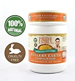 Pride Of India - Fuller's Earth Deep Cleansing Indian Clay Healing Face Mask Powder w/ Sandalwood, Half Pound Jar, 100% Natural - BUY ONE GET 50% OFF 2ND UNIT (Mix N Match - Promo APPLIES FOR EVERY 2)