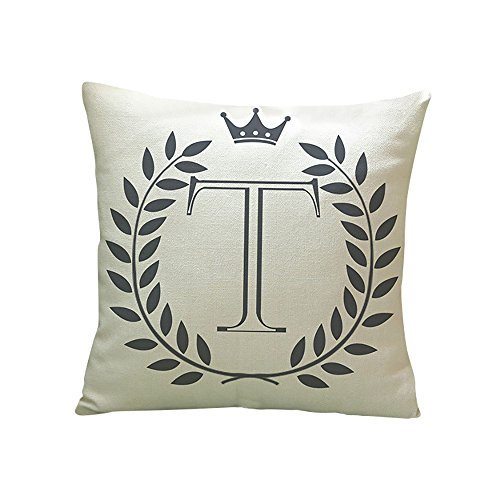 Price comparison product image Pgojuni Letters Pattern Linen Throw Pillow Cover Cushion Cover Pillow Case for Sofa / Car / Bed 1pc (T)
