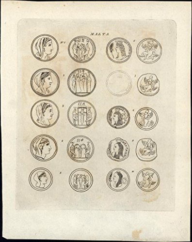 ancient-coins-of-malta-1817-scarce-charming-antique-numismatic-print
