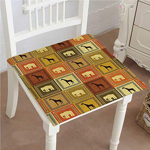 Mikihome Classic Decorative Chair pad Seat African Animals Pattern Silhouette Exotic Fauna Frame Vintage Design Illustration Brown Black Cushion with Memory Filling 22''x22''x2pcs by Mikihome