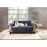 52 X 35 Inch Storm Blue Solid Color Non-slip Loveseat Cover, Dark Blue Furniture Protector From Pets Children Relaxed Fit T-cushion Textured Elegant, Polyester
