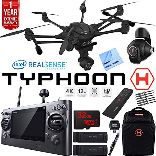 Yuneec TYPHOON H RTF Drone with Intel RealSense Technology Ultimate Bundle - Backpack, 32GB Memory, 2 Batteries, Wand, One Year Warranty Extension and More