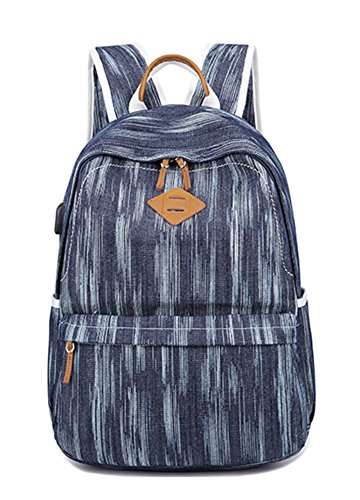 ezShe Women Canvas Laptop Backpack College Girls School Bag with USB Charging Port Navy