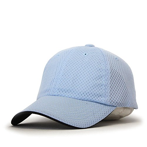 Low Pro Cap - Plain Pro Cool Mesh Low Profile Baseball Cap with Adjustable Velcro (Athletic Mesh Light Blue)