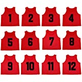 Oso Athletics Set of 12 Premium Polyester Mesh Numbered Jerseys / Scrimmage Vests / Pinnies with Carrying Bag for Children, Youth, & Adult Team Sports Soccer, Basketball