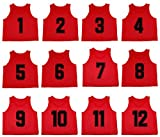 Oso Athletics Set of 12 Premium Mesh Numbered Scrimmage Vest Pinnies Team Practice Jerseys for Children, Youth, and Adult Sports Basketball, Soccer, Football, Volleyball, Lacrosse (Red, Youth)