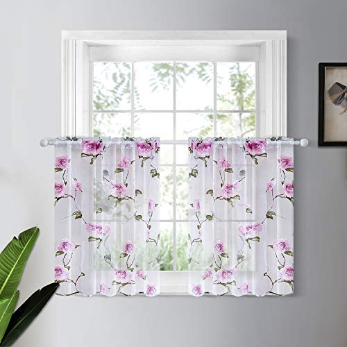 YOKISTG Floral Sheer Kitchen Curtains 36 Inch Length Rod Pocket Voile Tier Curtains for Cafe Basement Bathroom Small Window, Pink, 2 Panels