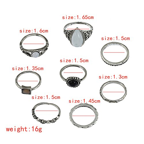 Lureme Vendimia plata Sencillo gota de piedra redonda de piedra conjunta nudillo conjunto de anillo de Midi de 8 (rg001841)