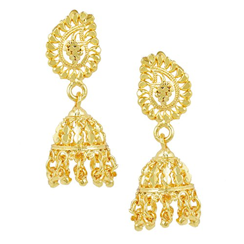 - Bodha 18k Gold Plated Traditional Indian Jhumka Earrings (SJ_746)