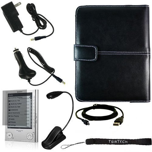 Ultimate Sony Reader eBook Touch Edition PRS-600 Bundle Pack- Black Leather Cover Case, eBook LED Light, USB 2in1