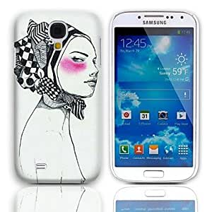 QJM Woman Askant Pattern Hard Case with 3-Pack Screen Protectors for Samsung Galaxy S4 mini I9190 , Blue