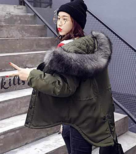 Larga Aire Cómoda Ropa Manga Con Libre Abrigo Battercake Invierno Chaqueta Corto Cremallera Irregular Capucha Mujer Dunkelgrün Elegante Bouffant Al Moda qznzva0SwX