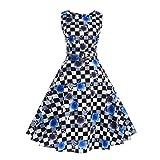 Aoopi Womens Vintage Flower Printing Dresses Sleeveless Halter Party Prom Swing Dress 1Dress+1Belt (Blue, 2XL)