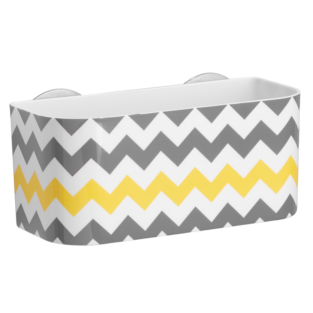 InterDesign Una Bathroom Suction Shower Basket, Gray/Yellow Chevron 93686
