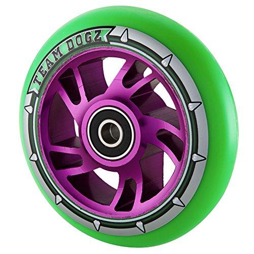 チームDogz 110 mm Swirl Core Stuntスクーターホイール – パープル/グリーン