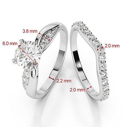 G-H/VS 1 CT Coupe ronde sertie de diamants Saphir et diamants blancs et bague de fiançailles en platine 950 Agdr-2023