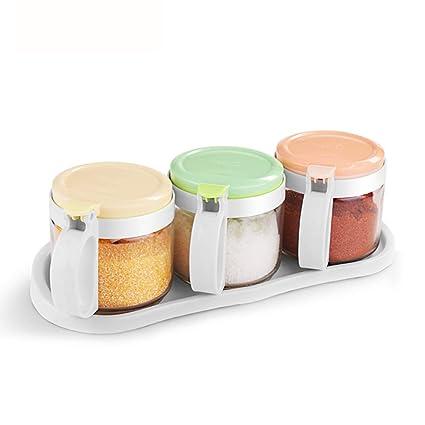 WSGZH Condimento Botella Vidrio Condimento Caja Hogar Sal Olla Azúcar MSG Condimento Botella Salsa Caja De