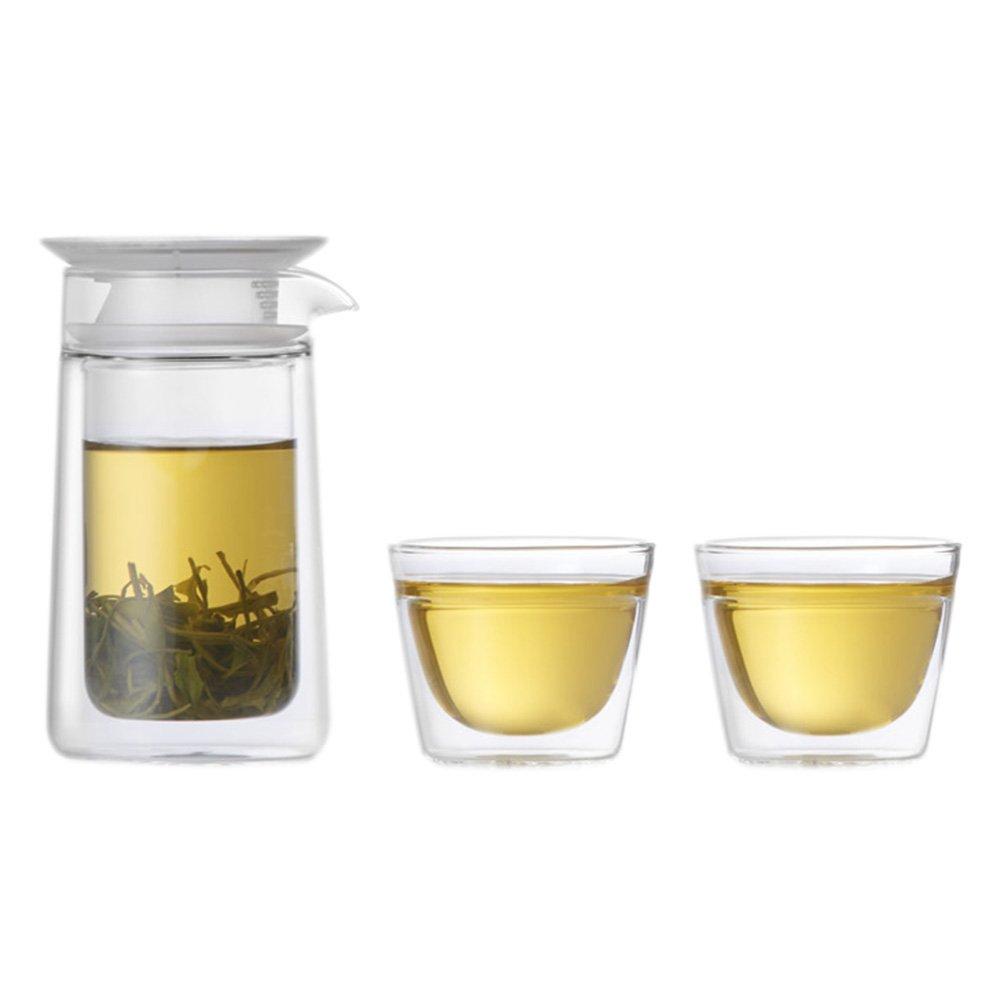 Verre Zens Infuseur /à th/é en vrac avec tasse de voyage chinois en verre Blooming Flower 7/couleurs 201*86*184mm jaune