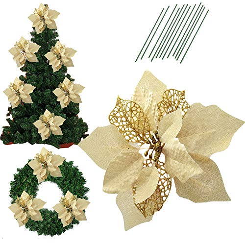 8.6 Inch Glitter Artifical Wedding Christmas Flowers Glitter Poinsettia Christmas Tree Ornaments Christmas Tree Decorations Pack of 12 (Gold)