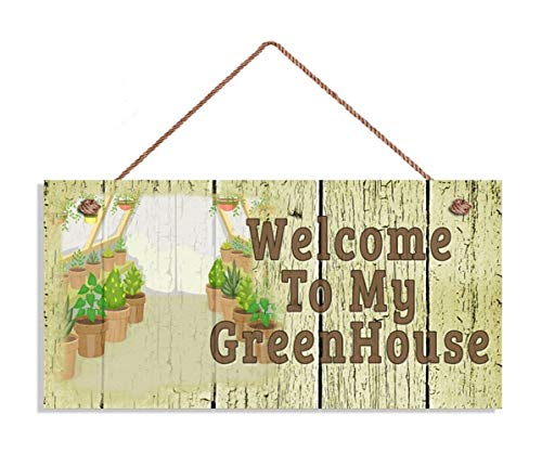 MAIYUAN Welcome to My Greenhouse Sign, Shabby Chic Garden Sign, 5