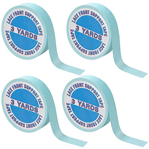 4 Pack Wig Tape Double Sided Lace Front Support Tape 12 Yards Adhesives Tape for Lace Front Wigs, Toupees, Hair Extensions and Hairpieces (1cm x 3 Yards)