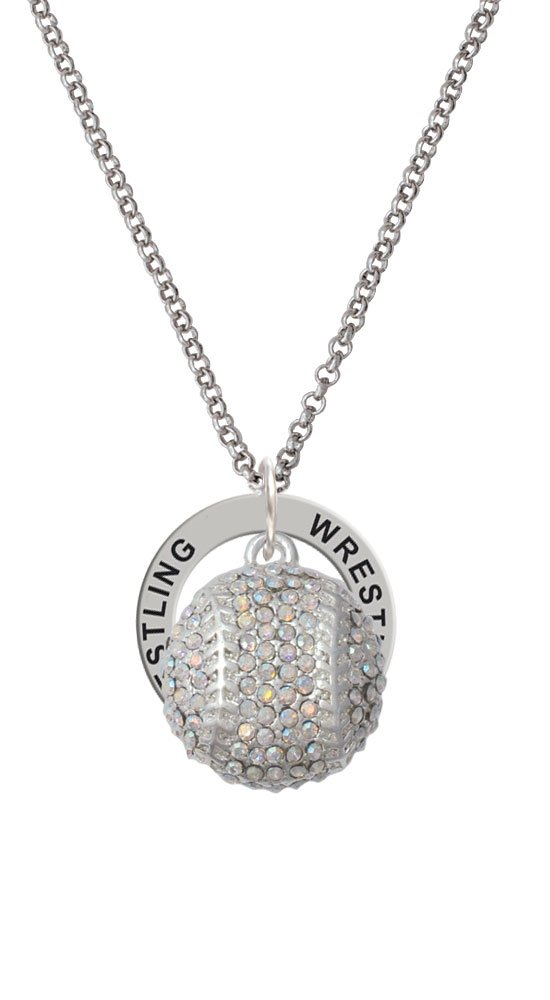 Large Super Sparkle Crystal Clear AB Softball - Wrestling Affirmation Ring Necklace by Cheer Bunny