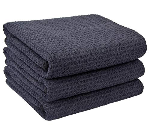 SINLAND Microfiber Dish Towels Kitchen Drying Towels Waffle Weave Hand Towel 3 Pack 16inch X 24inch Black